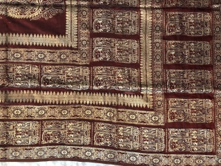 Swarna baluchuri sari fragment (Pallu)from baluchar village of Murshidabad District of West Bengal India late 19th century with fine gilded silver treads used for making the scenes of English men smoking hookah  ...