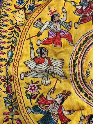 Mochi Bharath  embroidery (Cobblers stich)Pichwai depicting Krishnaraas mandala subject from Gujarat India mid 20th century Done on gaji silk base cloth with silk tread used in embroidery  the size of  ...