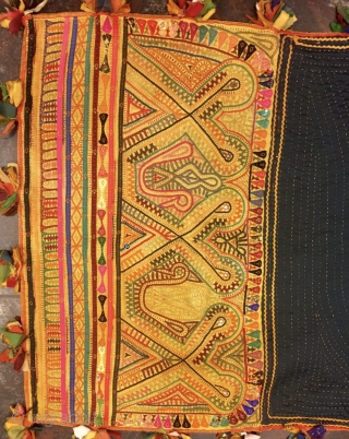 Old kutchi debaria work (takia) (ushango) pillow cover from bhujodi village Kutch Gujarat used by the kutchi Rabari people . The size of the pillow is 140 cm x 64cms.