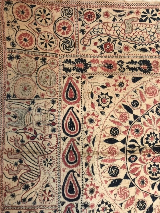 Exceptional vintage  Kantha from Rajshahi district of  West Bengal 1900 c. The kantha has very beautiful figurative work of human and as well as animals the size of the Kantha  ...