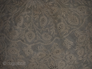 Finest chikankari table cloth in fine mulmul cotton with marodi embroidery (fine twisted embroidery) from Lucknow Uttar Pradesh India 1850C. Used by the Nawabs of Lucknow the size of the table cloth  ...