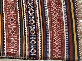 Durrie handwoven of cotton with vibrant colours with geometrical design all over from Thar desert region of Rajasthan India.the durrie is in very find condition without any holes or stains.the size of  ...