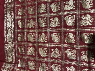 Vintage real zari sari with elephants and peacocks motifs all over gold on royal red colour made in Varanasi Uttar Pradesh India 1900c. on famous mulberry silk of Mysore the size of  ...