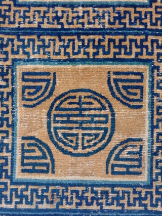 early chinese ningxia monastic bench cover fragment. 2x 3 squares, possibly the oldest cover with this design. bold archaic totemic charisma ..