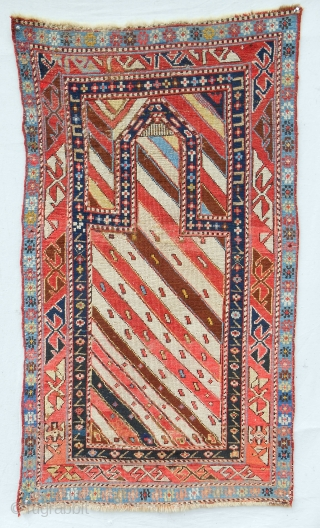 "Small (29"" x 52""), classic striped Caucasian Gendge prayer rug with silky wool. c. 1860-80. Good condition. Relatively fine weave."