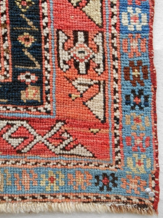 """Small (29"""" x 52""""), classic striped Caucasian Gendge prayer rug with silky wool. c. 1860-80. Good condition. Relatively fine weave."""