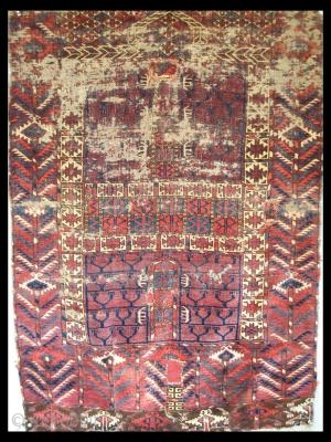 """Rare late 18th or early 19th century Tekke Engsi. Very silky wool and soft handle. Some stabilization and restoration. 2\'11\"""" X 4\'2\"""" (i.e. Unusual Size )"""