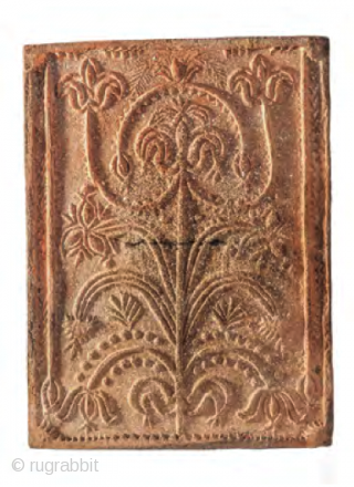Set of 6 stove tiles, Transylvania, Kalotaszeg region, 1800-1840, 29x21,5cm each, wonderful tree of life drawing full with symbols of fertility and with a flowering tulip on its top showing the mystic  ...