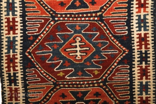 Unusual, rare Shashavan Panel. Probably Mafrash? 94x36 cm. All natural dyes with really rare orange-colour.Attractive piece with harmonical color combination and pattern. Wool on wool.No cotton. End of 19th century. Or earlier? Perfect  ...