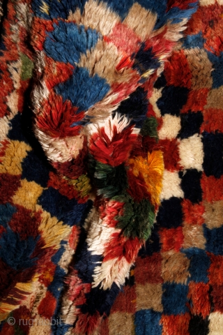 Bakhtiari gabbeh, 180x108cm, first half of 20th century. 4 cm, 1.6 inches (!) pile from great, shiny wool. All natural colors, every of them has more different shades. Beautiful abstract design, like a  ...