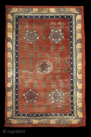 """Mytical chinese? monastry carpet, first half of 19th century,  absolutely unusual main field full of (probably) longevity """"shou"""" and """"fuo"""" symbols around 5 mystic floating medallion. Exceptionally drawn 3 dimensional swastika  ..."""