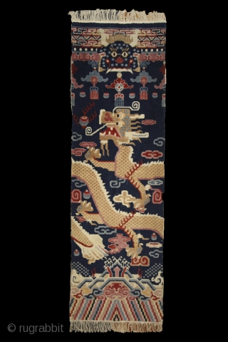 Tibetan pillar rug, 1st half of 20th century, 220x70cm, wool on cotton, perfect condition, beautiful colors, intact sides and ends and full, soft pile overall. other pieces on sale: http://rugrabbit.com/profile/5160