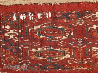 Tekke mafrash panel, 2nd half of 19th century. Very radiant colors from all organic sources. Blues, greens, fine weaving & velvety touch. Intact kilim on the upper side. Some fallen out knots  ...