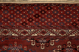 """Yomud """"Kepse"""" main carpet, at least mid. 19th century, 320x210 cm, wonderfully balanced spacious design with floating, rounded -early type of- Kepse-göls, and rare type of skirt design. Deep and saturated natural  ..."""