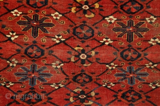 """Turkmen Beshir """"Mina-khani"""" chuval, mid. 19th century, ca. 1,50 x 1 m, design, drawing, colors, spacing, material... everything on its place.... needless to say enything else.... not an everyday thing... a bunch  ..."""