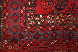 Ersari main rug with beautiful border system incl. different, vivid blues and wide kilim on both ends. 2x3 m, 19th century. Moth eaten knots at more places (the plain weave is not  ...
