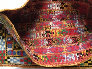 Finely embroidered double-sided bag, collected in Afghanistan, 30 x 23 cms, probably about 40 or 50 years old, the base is a red cotton fabric, embroidery thread feels like some kind of  ...
