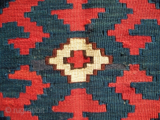 Mixed technique mafrash end panel, 46 x 53 cms, NW Persia – flat weave and sumak – superb glossy wool and good colours.