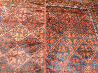 Baluch Yatak, This is a sleeping rug most probably woven in western Afghanistan. The wool is spectacular and colors are natural. This is an authentic domestic weaving from the nineteenth century and  ...