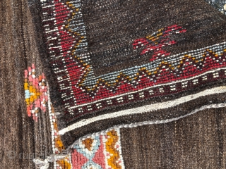 """Moroccan weaving, a saddle rug from the Ait Ouaouzguite, Jebel Siroua, southern Morocco. 4'11""""x3'4"""""""