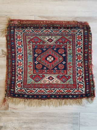 Interesting Kurdish bag from north west Persia. Note the flatweave back is not connected at the sides and there is a little damage to one corner.