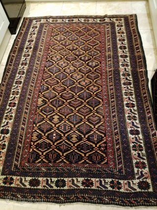 Late 19th century Kuba rug in lattice design  in excellent condition Size:205x145cm