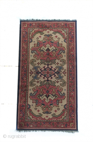 Rare Vintage Hand-Knotted WOOL-ON-WOOL Irish Donegal RUNNER 180x94cm