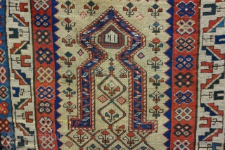 A very old and rare Kazak prayer rug Size: 150x92cm