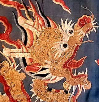 Yoke fragment of a finely embroidered Chinese Ming dynasty Nobleman's dragon robe. Wanli period 1572-1620 AD. Preserved as a Tibetan monastic canopy. Price on request