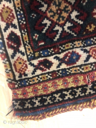 one the best Qashghayi bag face about 1880( belonged to Mr . Siawosh Azadi Collection),size:28x30 cm,in a mint condition,very lovely small bag,with %100 naturall colors,a very fantastic piece for collectors.pls not to  ...