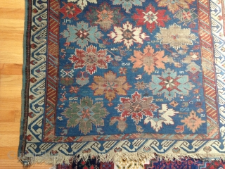 Shirvan rug dated 1880 some brown corrosion, sides intact no repairs done to this piece desperate for a thorough cleaning