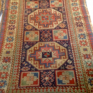"Akstafa long rug 39"" x 99"" ends have losses, selvedges in fair condition note other condition issues no stains or repairs very,very dirty but what is there has good color indicative of  ..."