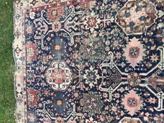 Antique large caucasian carpet fragment . Older afshan or blossom carpet type design with geometric variant of kufic border. Mostly good even low pile, damaged area as shown, scattered small creases, brown  ...
