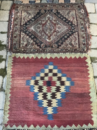 "Antique Persian tribal Qashqai bags 2'4"" x 8'7"" in as found condition. Used as a runner when found. The face is worn as are the edges in places. Good aesthetic in both  ..."