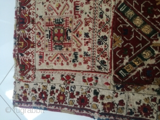 An antique Greek Island Embroidery in very good shape. 85/85 cm. Very fine weaving, very old.