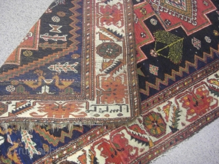 An old 1924 dated Bachtiar on wool rug with the size 270 X 140 cm. Good shape with a few used parts, really not too much. High pile. All natural dyes.