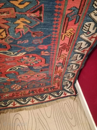 An antique Seychur, Kuba, Daghestan Sumak Kilim with 232/118 cm. Smallest demages. Original endings. No repairs. Natural dyes green, blue madder. Synthetic dyes red and orange.
