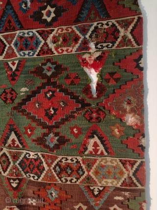 An antique first half 19th century Gaziantep kilim fragment 130/70 cm.