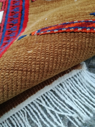 A Khanlyg Shusha Karabagh first quarter 20th. 350/120 cm. Good shape, corroded blacks, some 'not good colors' but rare. Frings renewed. On wool warps.