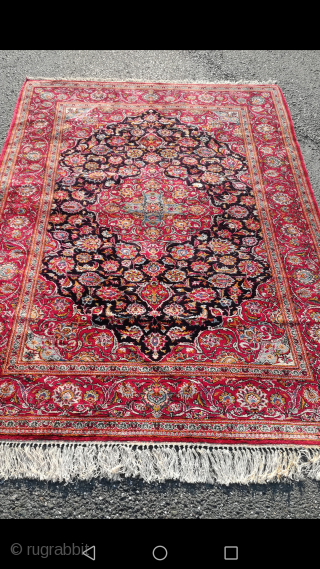 An old Iran Kashan silk on silk rug with 210/140 cm. Very good condition with even good pile.
