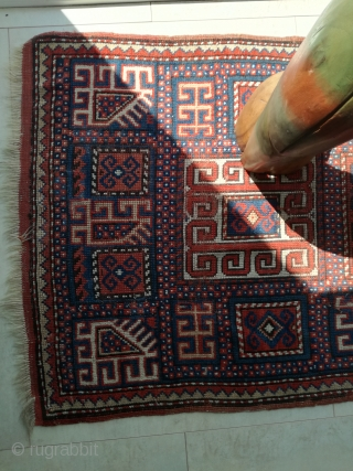 An antique Kasak with 150/77 cm. Good shape with smallest demages.