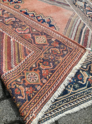An antique Afshar with nice diagonal stripes. 176/140 cm. Used condition.