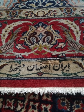 Old fine Isfahan Ahamad Zojaji signed. In as found condition, full pile with one small moth demage at the description. 163/110 cm.