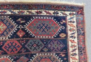 Antique Persian Kurdish Jaff fragment Rug Size.140x100 Cm