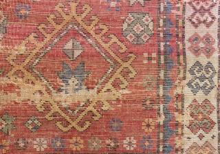 Antique Caucasian fragment Rug  Circa 1880.90 Size.122x68 Cm