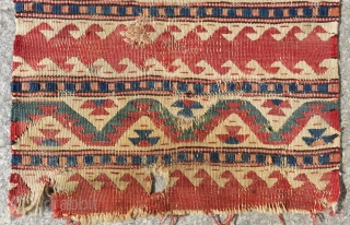 Early 19th c West Anatolian Kilim Bag face Size.43x40 Cm