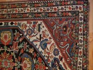 """This posting is for a very nice  Khamseh area rug. 57""""x72"""" / 144cm x 183cm.  Woven in the 4th qtr. of the 1800's  excellent earlier wool with a silky  ..."""