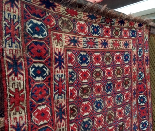 Rare Beshir rug, very nice design. Mid 19th century or earlier. Several repairs and damaged spots. Size is 1,98m x 1,01m