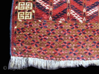 "Tekke engsi, 3rd qtr. 19th C., 4' x 4'11"".  This engsi is in almost full pile. The colors, all natural, are rich and nicely saturated. Wool is of the finest quality.  ..."