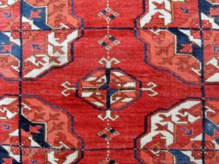 """Elegant mid-19th c. Tekke main carpet, 10'5"""" x 7'2"""",  featuring a minor gul related to the one used by the Salor. Major guls are nicely round suggesting an early date. Areas  ..."""